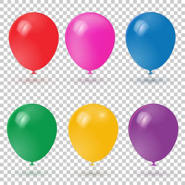 Coleção colorida realística dos balões 3d. Vetor Premium