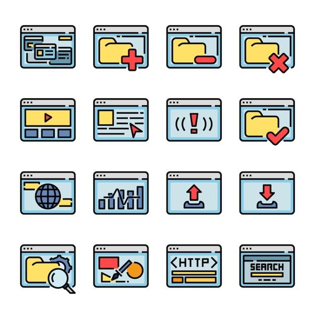 Coleção computer interface browser Vetor Premium