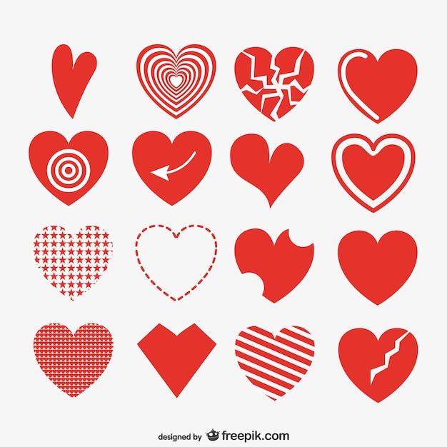 Coleção corações artística vermelha Vetor grátis