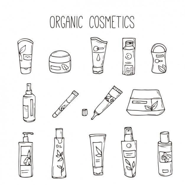 coleção cosméticos orgânicos Vetor grátis
