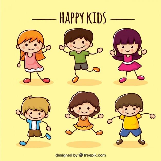 Coleção crianças felizes Vetor grátis