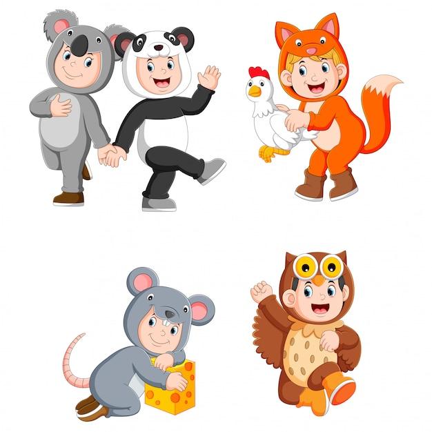 Coleção crianças vestindo trajes de animais fofos Vetor Premium