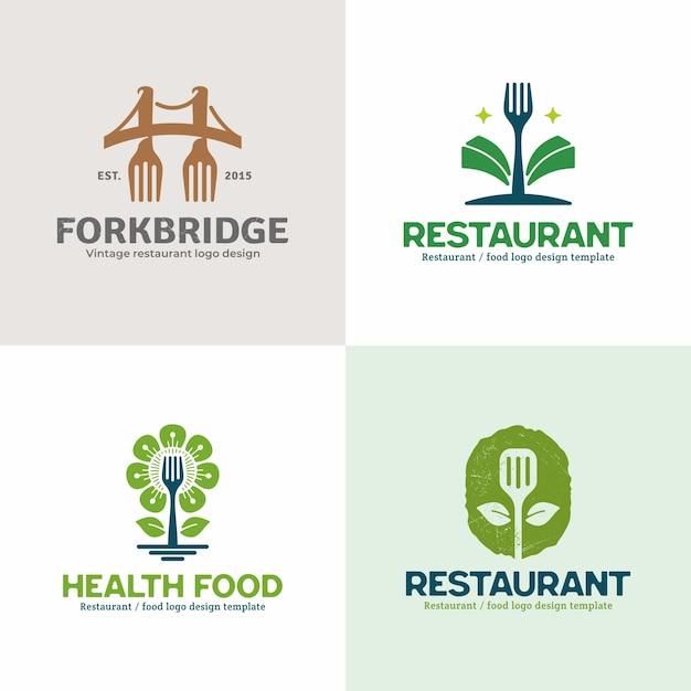 Coleção criativa criativa logotipo do restaurante. Vetor Premium