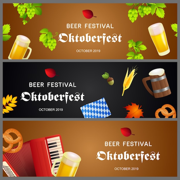 Coleção criativa de banner para o festival de cerveja Vetor grátis