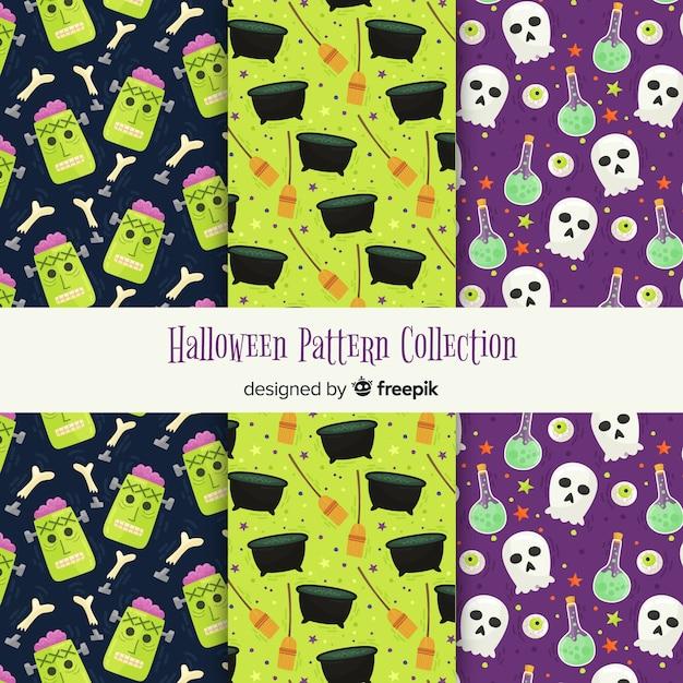 Coleção criativa de padrões de halloween Vetor grátis