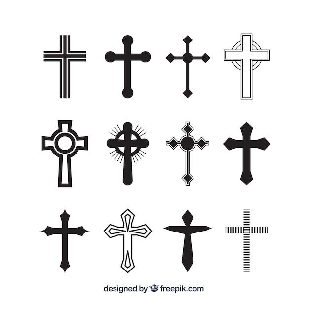 Coleção cruzada de silhouette christian Vetor grátis