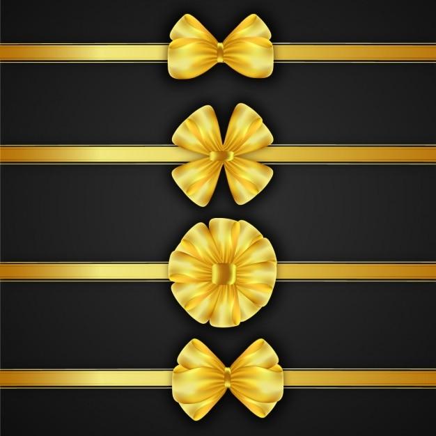 coleção curvas douradas Vetor Premium