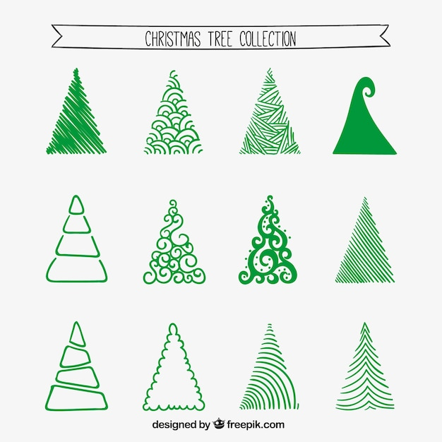 Coleção da árvore de Natal estilizado Vetor Premium