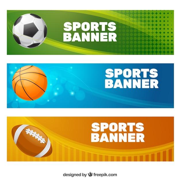 Coleção da bandeira do esporte Vetor grátis