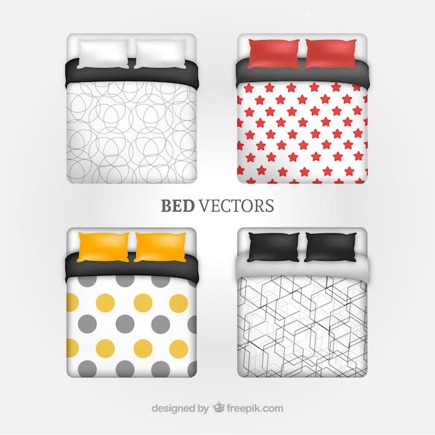 Coleção da cama Vetor Premium