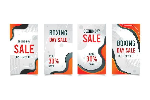 Coleção da história do instagram da venda do dia de boxe Vetor grátis