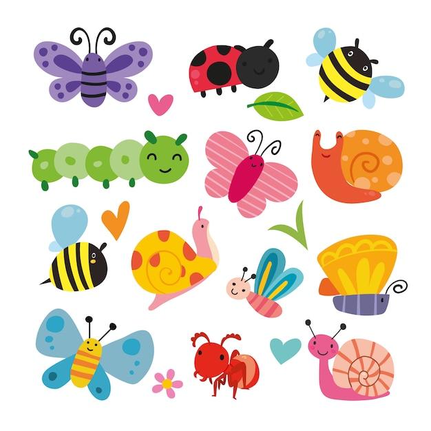 Coleção da ilustração do inseto Vetor grátis