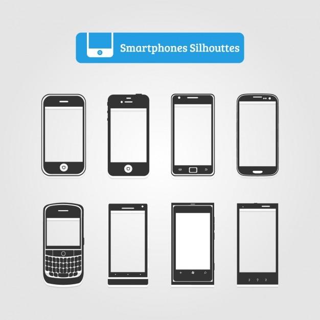 Coleção da silhueta do smartphone Vetor grátis