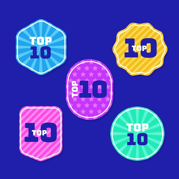 Coleção das 10 melhores etiquetas Vetor grátis