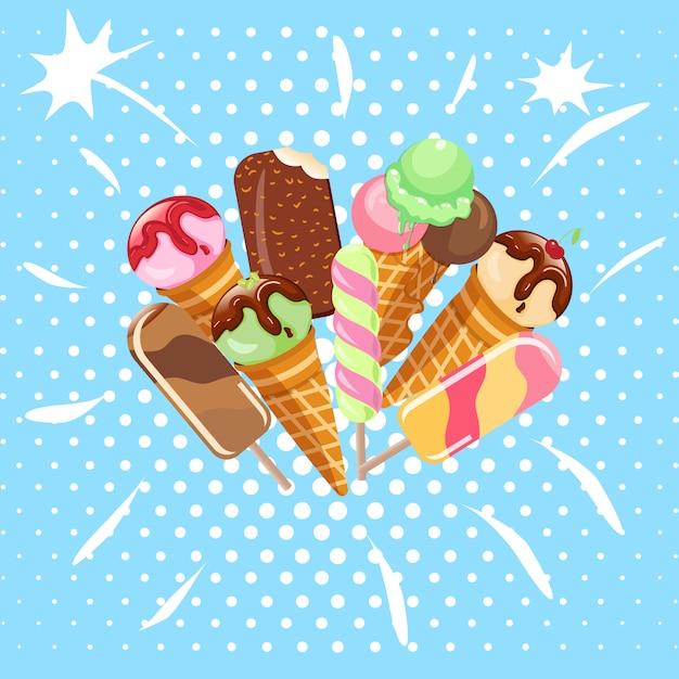 Coleção das ilustrações frias do vetor do alimento da sobremesa doce do gelado isoladas. colher congelada do sabor gelado cremoso saboroso do waffle da leiteria do petisco. bola deliciosa macia do gelado do leite. Vetor Premium