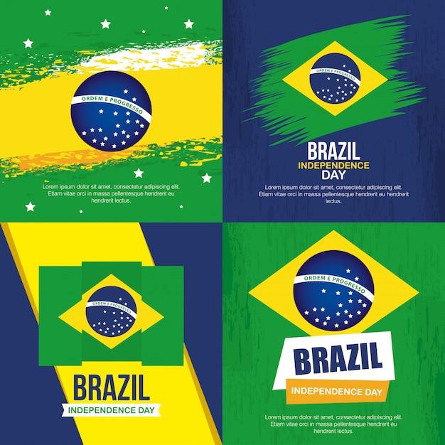 Coleção de, 7 de setembro, faixas de comemoração do dia da independência do brasil Vetor Premium