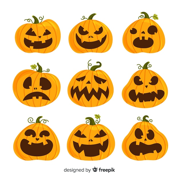 Coleção de abóbora de halloween de design plano Vetor grátis