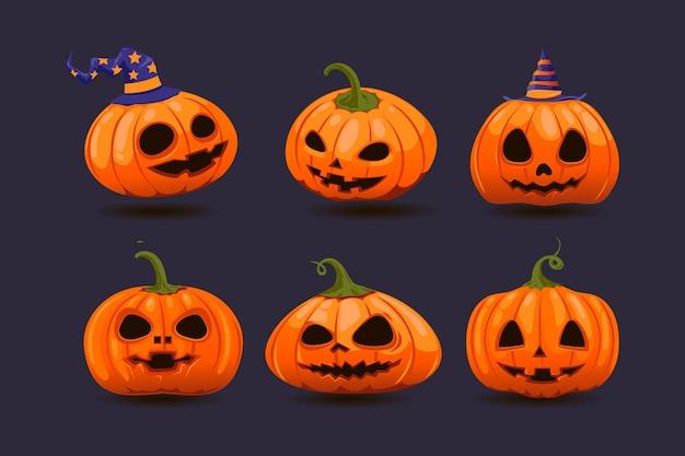 Coleção de abóbora de halloween desenhada à mão Vetor grátis