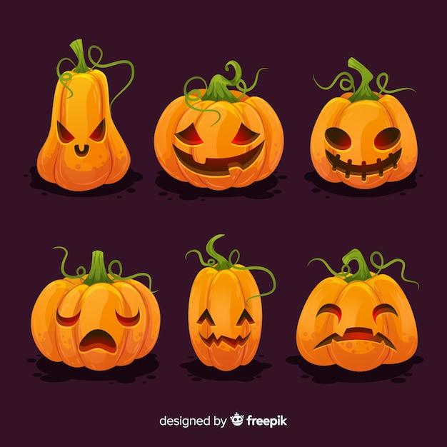 Coleção de abóbora de halloween plana Vetor grátis