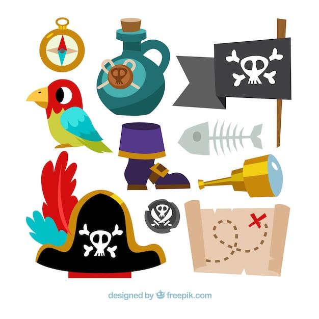 Coleção de acessórios de aventuras piratas Vetor Premium