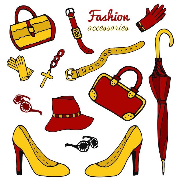 Coleção de acessórios femininos, conjunto de moda. vector desenhado a mão isolado. Vetor Premium