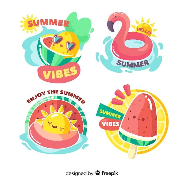 Coleção de adesivo de verão colorido mão desenhada Vetor grátis