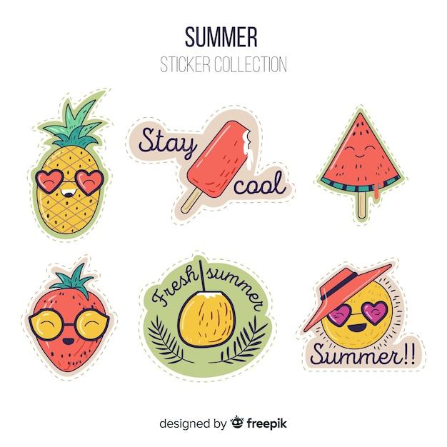 Coleção de adesivo de verão colorido Vetor grátis