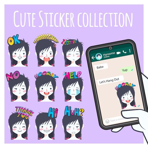 Coleção de adesivo emoji menina cute Vetor Premium