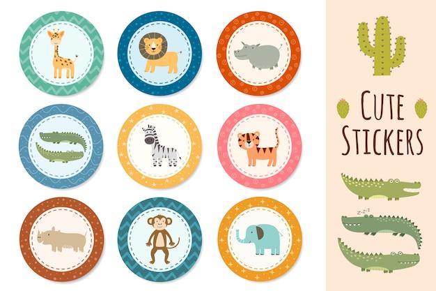 Coleção de adesivos com animais fofos de safári. Vetor Premium