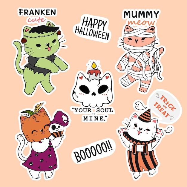 Coleção de adesivos de halloween de gato fofo, cabeça de abóbora, múmia Vetor Premium