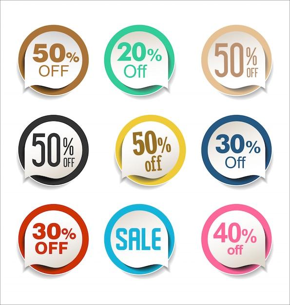 Coleção de adesivos de venda colorida moderna Vetor Premium