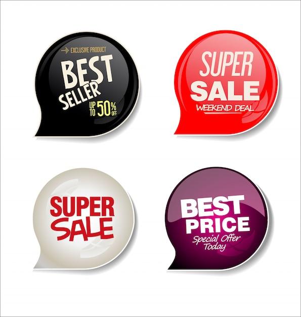 Coleção de adesivos de venda moderna Vetor Premium