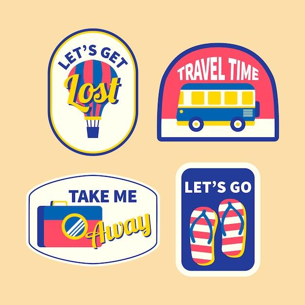Coleção de adesivos de viagem no estilo dos anos 70 Vetor grátis