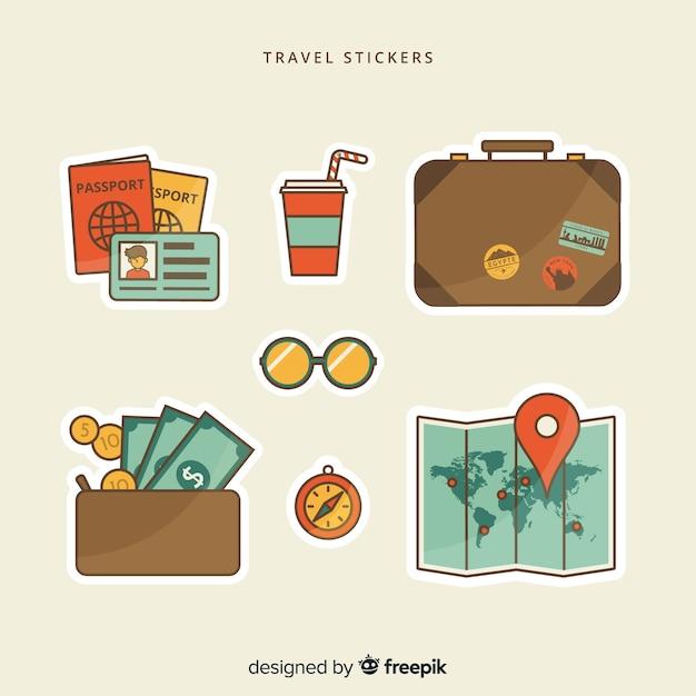 Coleção de adesivos de viagem plana Vetor grátis