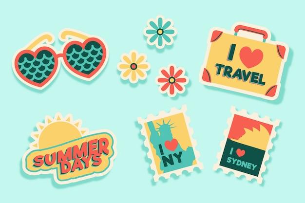 Coleção de adesivos de viagens / férias no estilo dos anos 70 Vetor grátis