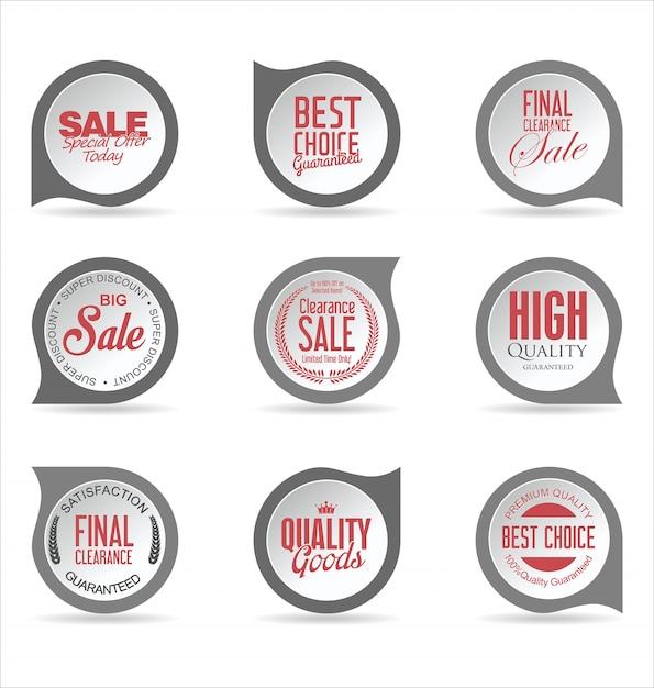 Coleção de adesivos e etiquetas de emblemas modernos Vetor Premium