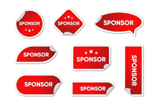 Coleção de adesivos vermelhos de patrocinador Vetor grátis