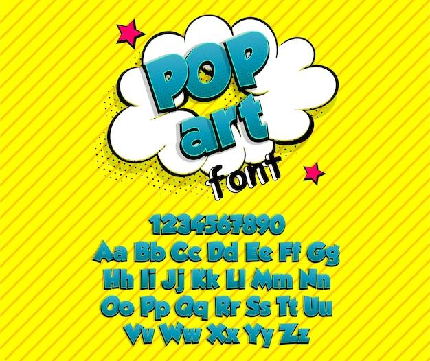 Coleção de alfabeto de fontes de super-heróis em negrito azul em quadrinhos pop art Vetor Premium