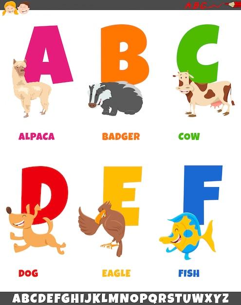 Coleção de alfabeto dos desenhos animados com personagens animais Vetor Premium