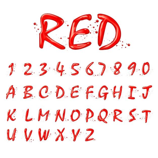 Coleção de alfabetos e números vermelhos líquidos em fundo branco Vetor Premium