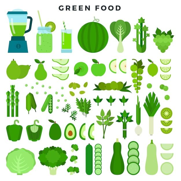 Coleção de alimentos de cor verde: legumes, frutas e sucos, conjunto de ícones plana. Vetor Premium