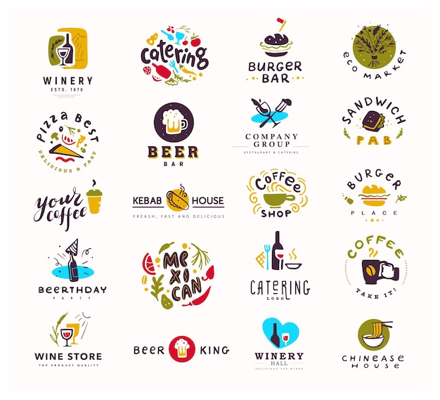 Coleção de alimentos e álcool conjunto logotipo isolado no fundo branco. Vetor Premium