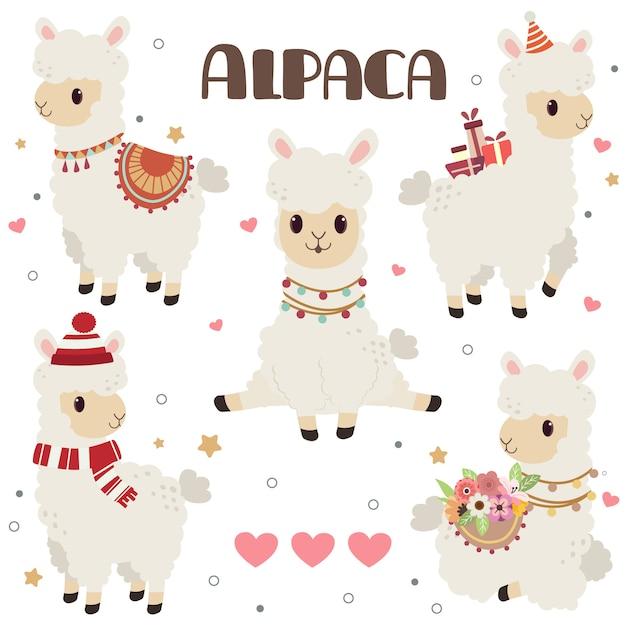 Coleção de alpaca fofa com corações Vetor Premium