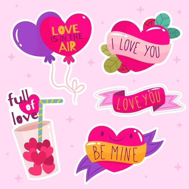 Coleção de amor plana colorida Vetor grátis
