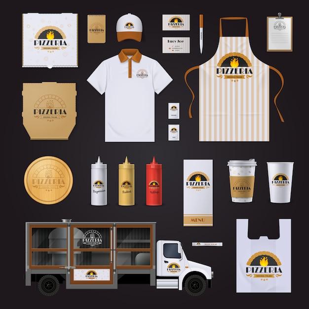 Coleção de amostras de modelos de identidade corporativa cadeia de restaurante de pizza com sacos de polo avental em preto Vetor grátis