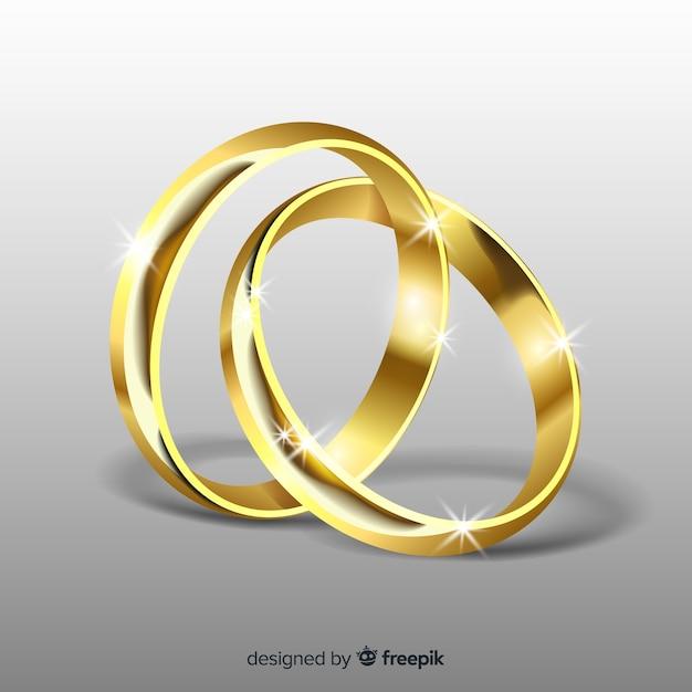 Coleção de anéis de casamento realista Vetor grátis