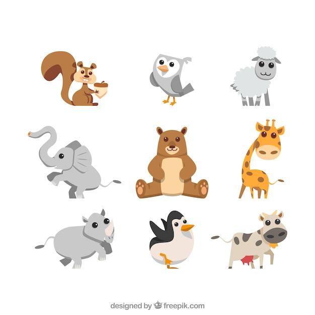 Coleção de animais agradáveis Vetor grátis