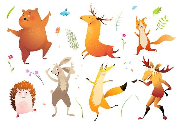 Coleção de animais bebês selvagens da floresta Vetor Premium
