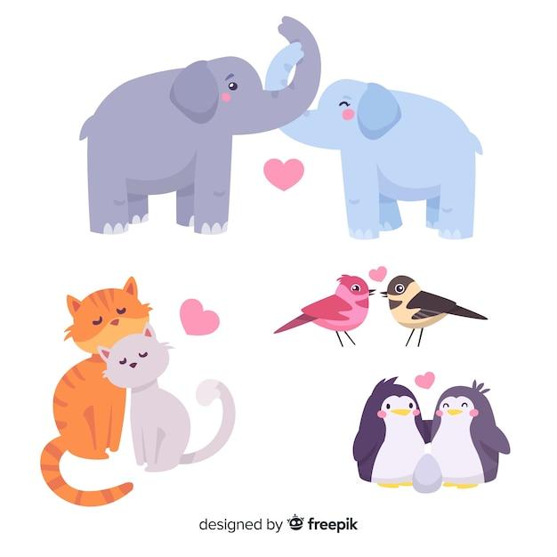 Coleção de animais casal de dia dos namorados Vetor grátis