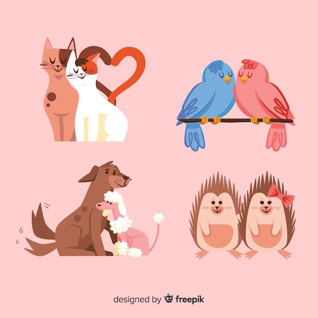 Coleção de animais casal dos namorados Vetor grátis